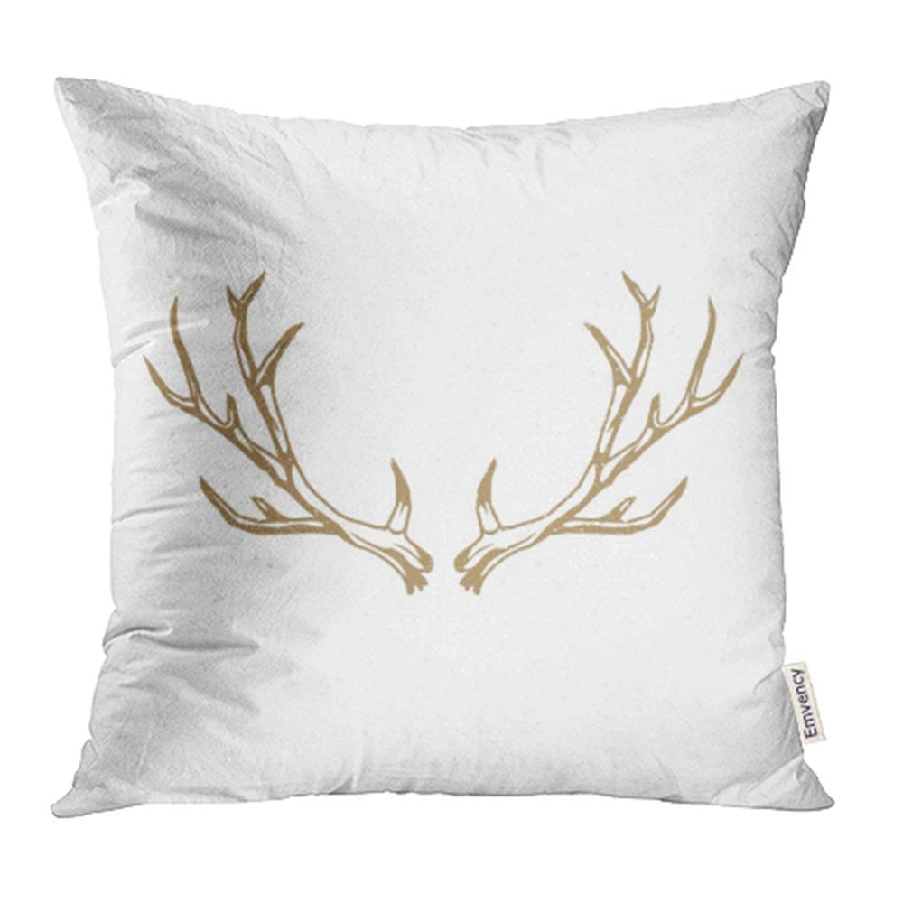 CMFUN Black Antler Deer Horns Emblem Vintage Design Elegant Animal Beast Big Cute Pillowcase Cushion Cover 20x20 inch