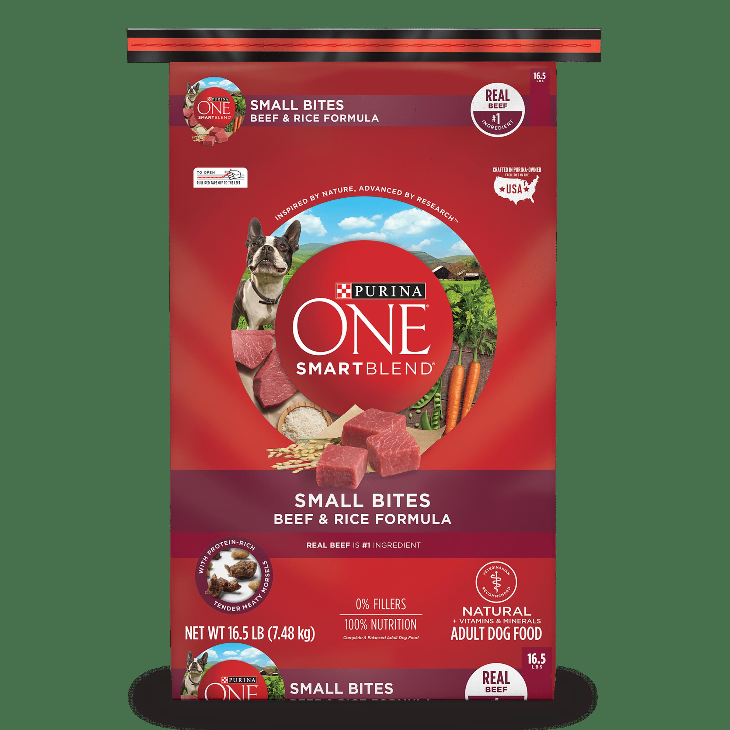 Purina ONE SmartBlend Natural Small Bites Beef & Rice Formula Adult Dry Dog Food - 16.5 lb. Bag