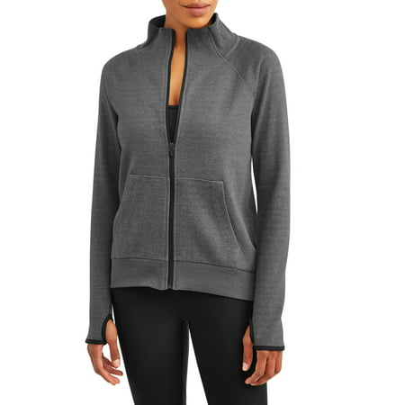 Women's Active Double Knit Mockneck Full Zip Tunic Jacket - Novelty Knit Jacket
