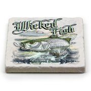 Erazor Bits WF103-MC100 Natural Stone Coasters Man Cave Fishing Gifts for Men or Women - Striped Bass Fishing, Ivory