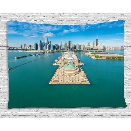 Chicago Skyline Tapestry, Aerial Panorama of Navy Pier Marine Metropolis Big City Silhouette View, Wall Hanging for Bedroom Living Room Dorm Decor, 60W X 40L Inches, Multicolor, by Ambesonne