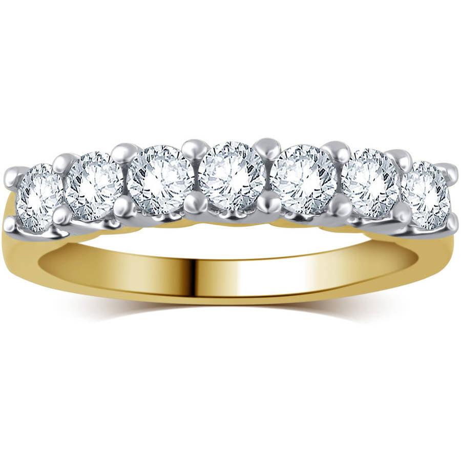 3/4 Carat T.W. Round Diamond 10kt White Gold 7-Stone Wedding Band, I-J/I2-I3