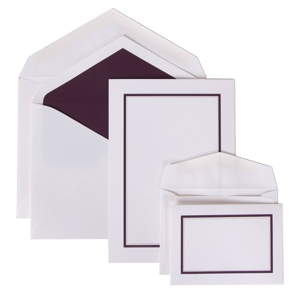 JAM Paper Wedding Invitation Combo Set, 1 Large & 1 Small, Bold Border Set, Purple Card with Purple Lined Envelope,100/pack
