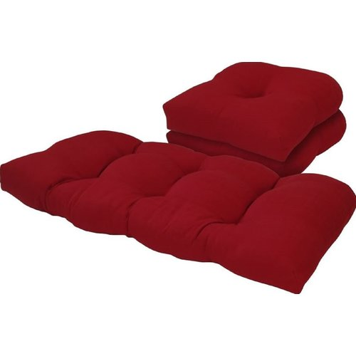 Bay Isle Home Solid 3 Piece Outdoor Loveseat/Chair Cushion Set
