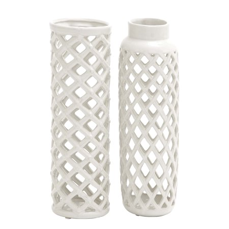 Decmode Modern 12 Inch Round White Ceramic Vases White Set Of 2