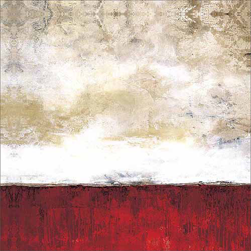Abstract Paint Texture Color Blocking Horizon Line Painting Red & Tan Canvas Art by Pied Piper Creative