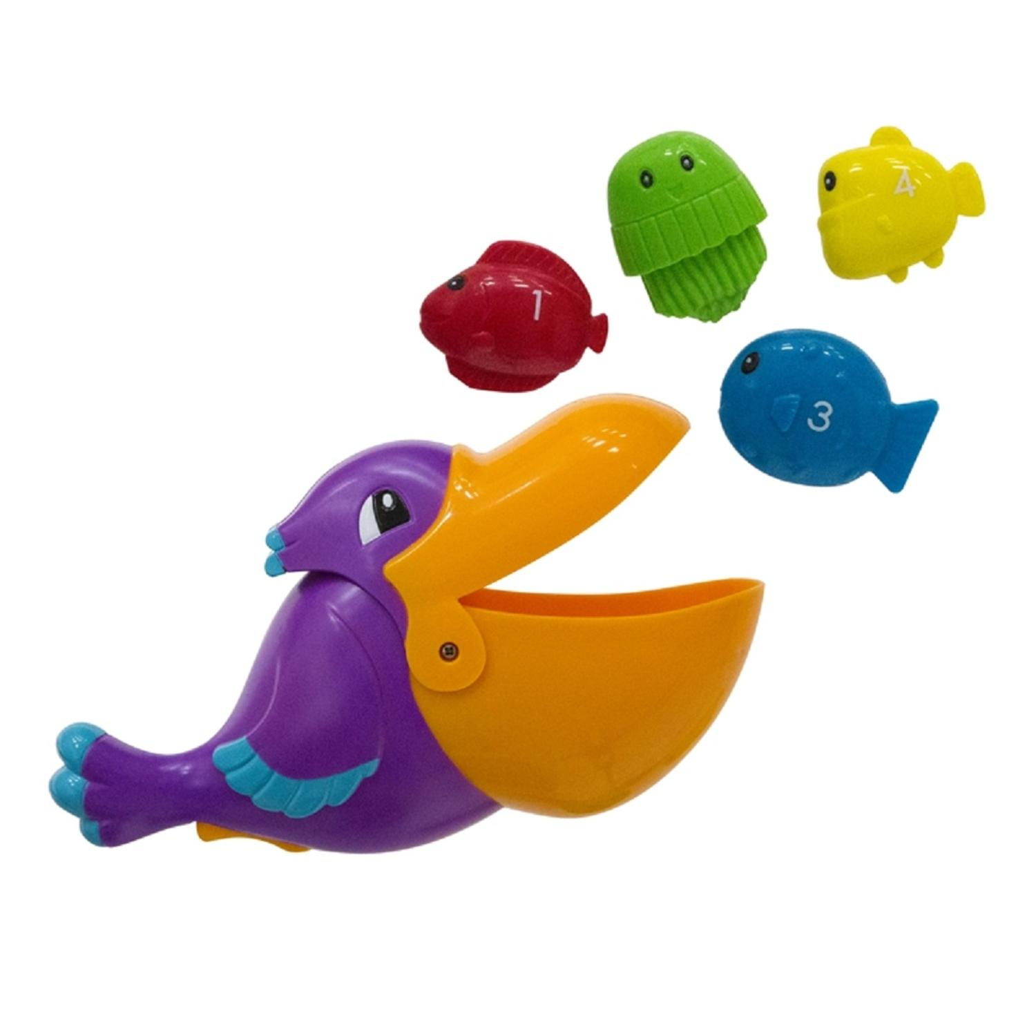 "7.5"" Purple and Orange Pick Me Up Pelican and Sea Creatures Swimming Pool Toy"