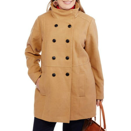 dc95b10bb9659 Maxwell Studio - Women s Plus-Size Faux Wool Double-Breasted Peacoat with  Stand Collar - Walmart.com