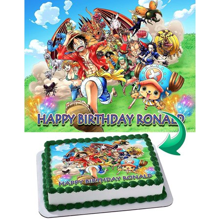 One Piece Monkey D. Luffy King of Pirates Manga Anime Edible Cake Image Personalized Toppers Icing Sugar Paper A4 Sheet Edible Frosting Photo Cake Topper 1/4 (King Cape)