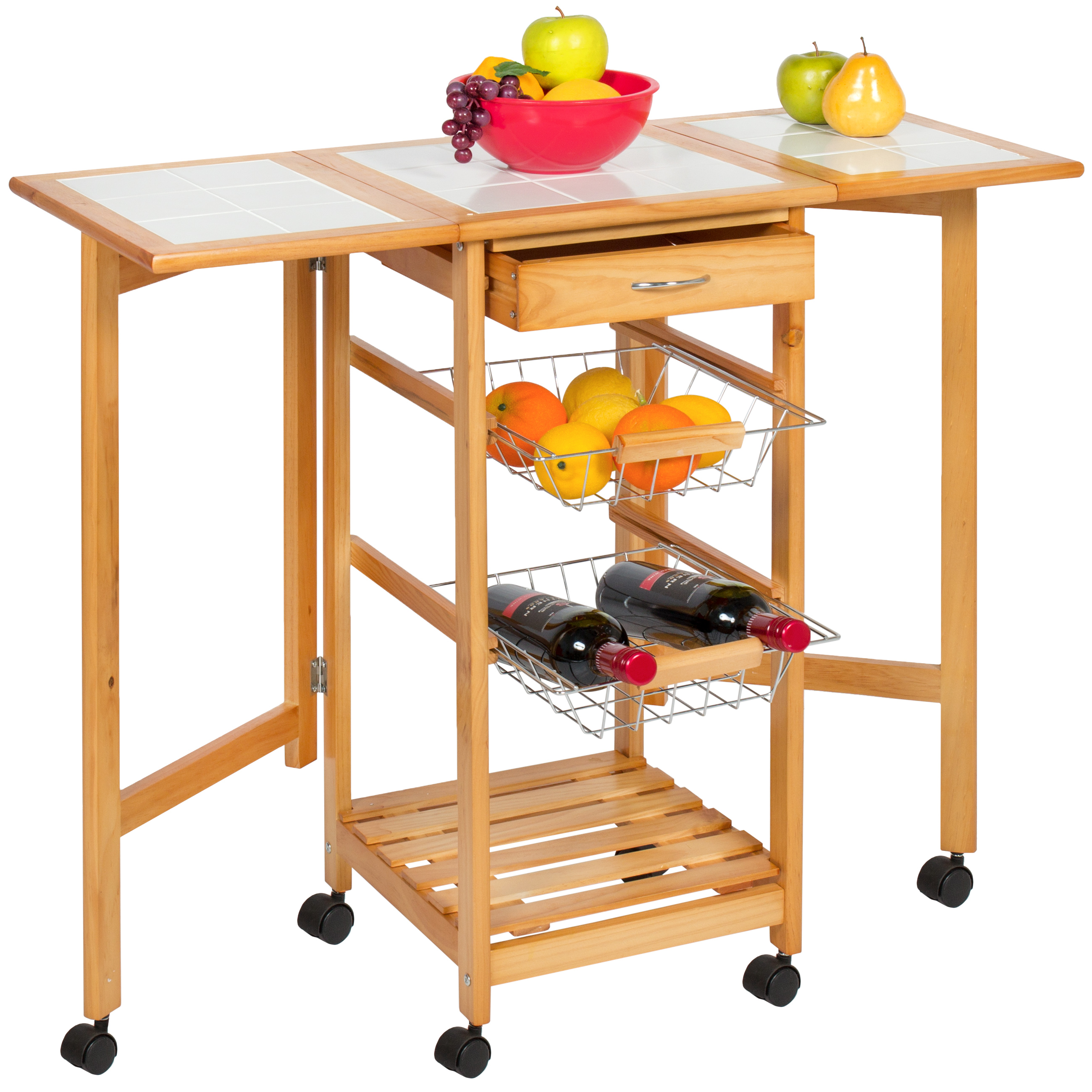 Best Choice Products Portable Folding Tile Top Drop Leaf Kitchen Island  Cart Table Rolling Trolley