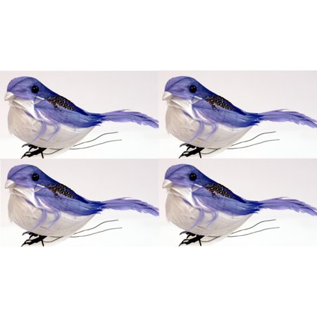 Creative Hobbies 3-1/2 Inch Feathered Artificial Blue Birds on Wire, Pack of 4 (Hobby Lobby Feathers)