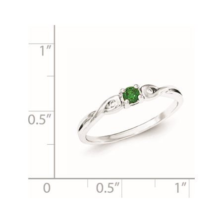 Sterling Silver Rhodium-plated Green & White CZ Ring - image 2 de 3