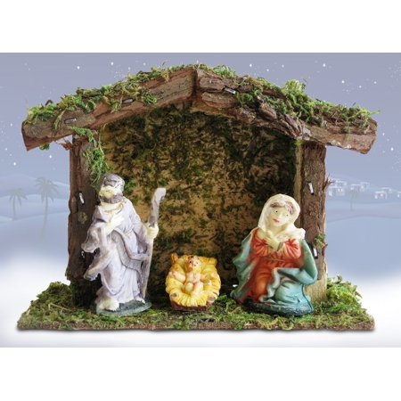 Child's Nativity Set (Miniature Nativity Scene with a Small 4-Inch Stable - Mary, Joseph and Baby Jesus - Holiday Tabletop Nativity Set, FIRST NATVITY FOR KIDS. Set of 3 mini.., By Banberry)