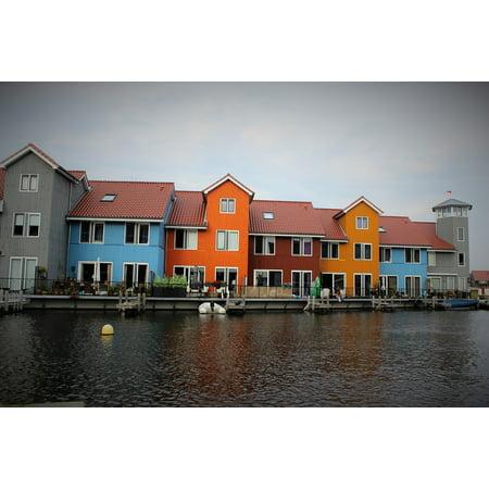 Canvas Print Netherlands Water Color Homes Groningen Stretched