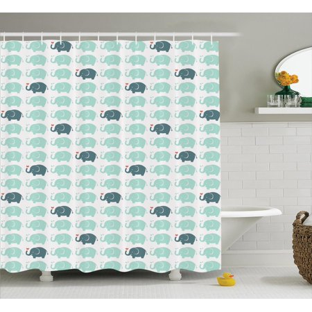 - Elephants Decor Shower Curtain Set, Elephant Cartoon Pattern Water Drops Doodle Cheerful Fun Jolly Childish, Bathroom Accessories, 69W X 70L Inches, By Ambesonne