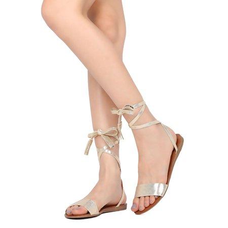 Breckelles Aloha Champagne Metallic Open Toe Ankle Wrap Tasseled Gladiator Sandal