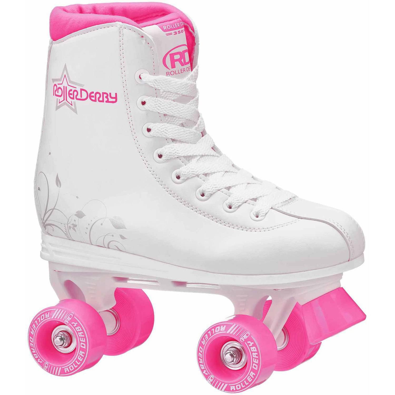 Roller Star 350 Girls' Quad Skates, White/Pink
