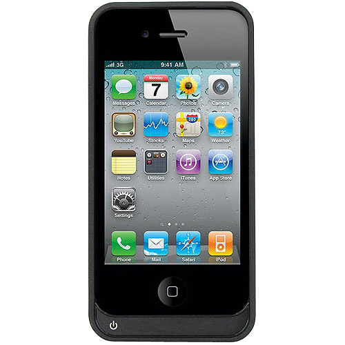 iContact iPhone 4/4S Rechargeable Battery Case, Black