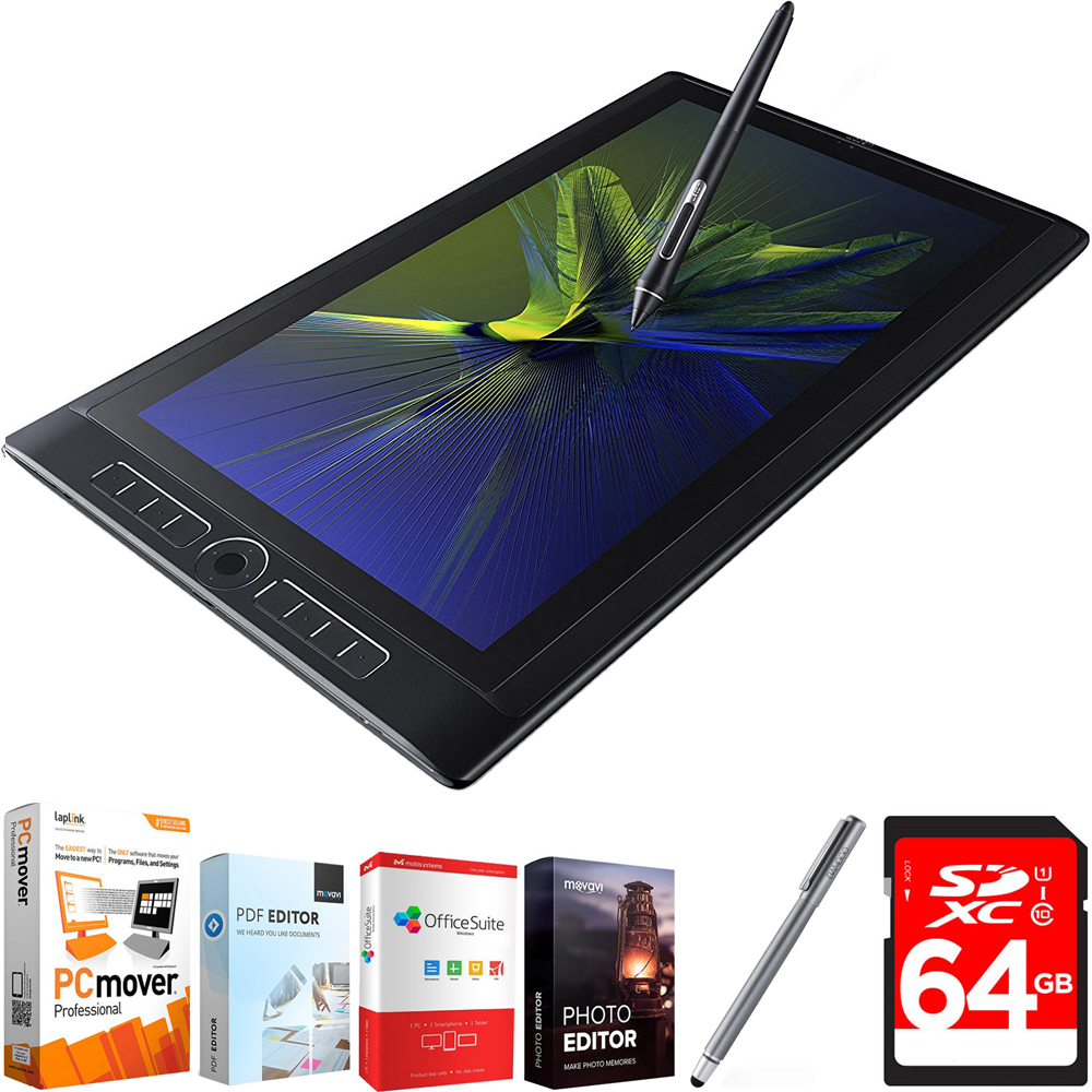 """Wacom MobileStudio Pro 16"""" Tablet i5 256GB SSD, Windows 10, NVIDIA M600M (DTH-W1620M) with Elite Suite 18 Standard Editing Software Bundle, Bamboo Solo Stylus for Tablets and Smartphones & 64GB Memor"""