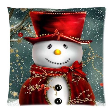 Merry Christmas Pillow Cases Cotton Linen Sofa Cushion Cover Home Decor ()