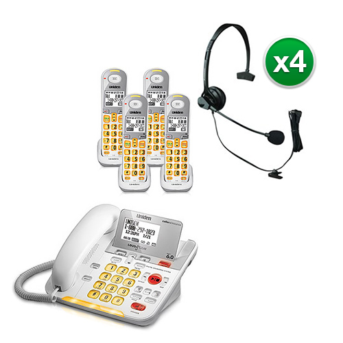 """""""Uniden D3098-4 with Headset DECT 6.0 Amplified Corded Cordless Phone w  3 Extra Handsets"""" by Uniden"""