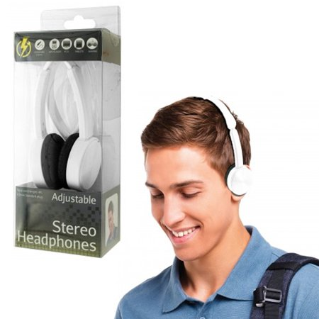 Stereo Headphones Over Head On Ear Foldable All Devices 3.5mm DJ iPod PC White ()