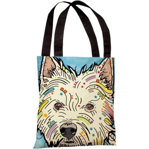 """West Highland Terrier"" 18""x18"" Tote Bag by Dean Russo"
