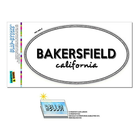 Bakersfield, CA - California - Black and White - City State - Oval Laminated Sticker
