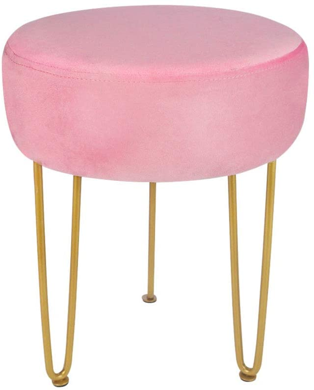 Beige White Modern Velvet Square Ottoman,Classical Woven Upholstered Ottoman with Gold Metal Legs Vanity Stool Makeup Chairs for Living Room