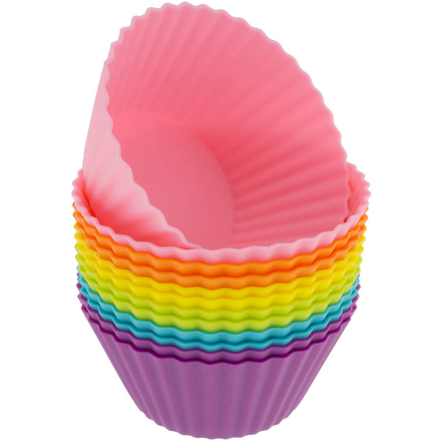 Freshware 12-Pack Standard Round Reusable Silicone Baking Cup, Rainbow Colors, CB-300SC