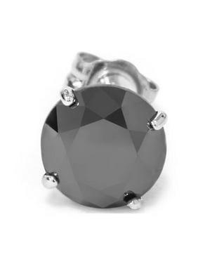Mens 1/2ct Black Diamond Stud Earring 14K White Gold
