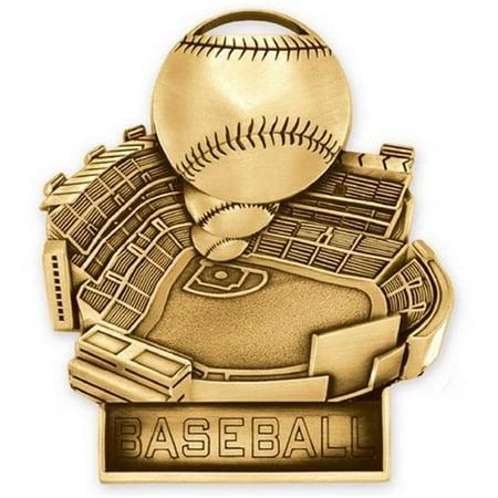 Baseball Medals - Simba SAA201G 3.5 in. Standup Medal Baseball, Gold - Pack of 25