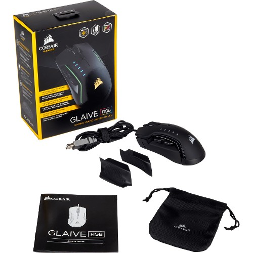 CORSAIR GLAIVE - RGB Gaming Mouse - Comfortable & Ergonomic - Interchangeable Grips - 16000 DPI Optical Sensor - Black