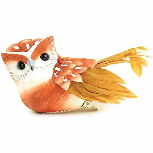 """Midwest Design Small Feather Bird On Clip, 3"""", Owl-Brown/Red"""