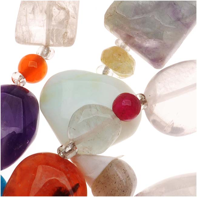 Gemstone Mix Lot Small Assorted Nugget Beads 5-8mm/14""