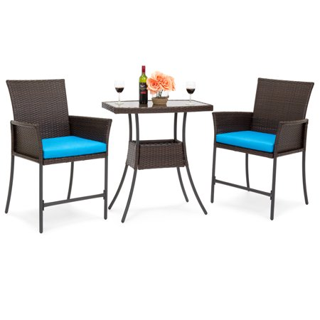 Best Choice Products Outdoor 3-Piece Patio Wicker Bistro Set with Glass Table Top and Removable Cushions, Brown ()