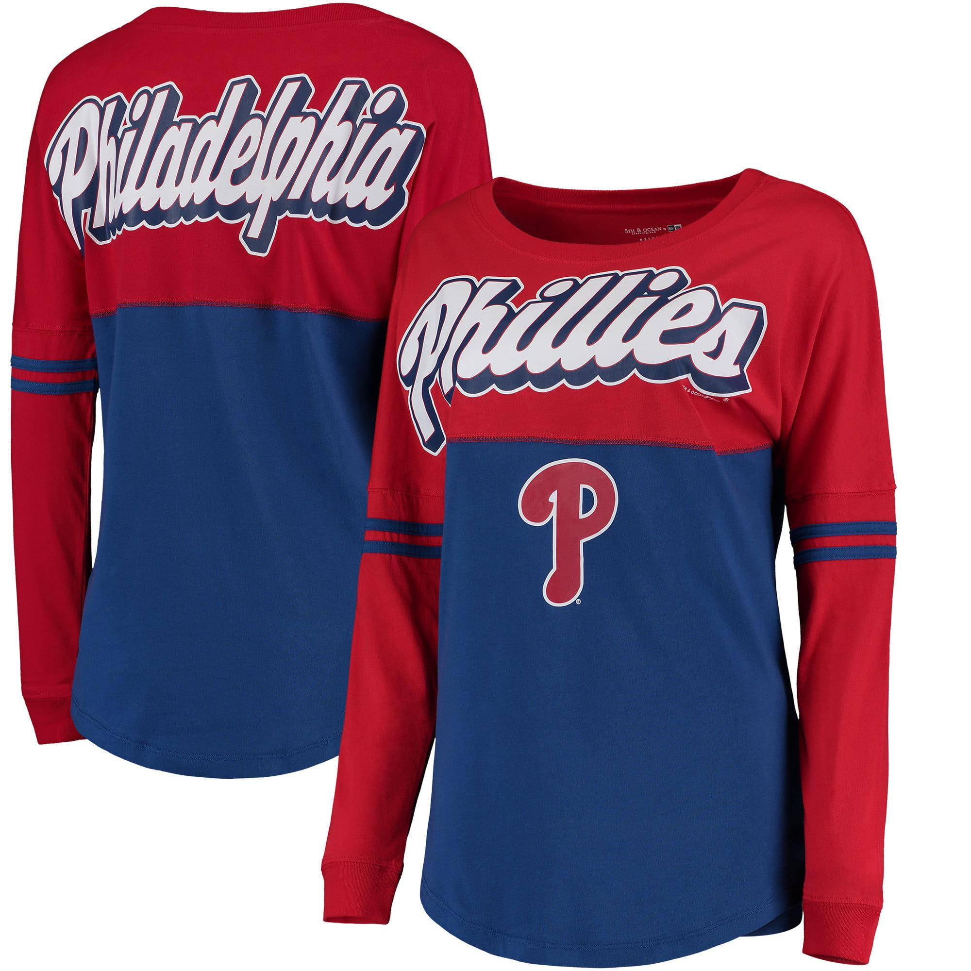 Philadelphia Phillies 5th & Ocean by New Era Women's MLB Baby Jersey Varsity Crew Boyfriend Long Sleeve T-Shirt - Royal