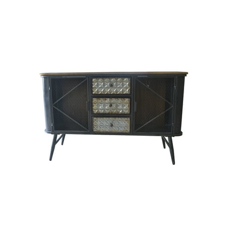 Emerald Home Laurell Hill Patina Gray and Rustic Fir Buffet with Metal Base, Three Drawers, Wire Mesh Door Fronts, And Solid Wood Top ()