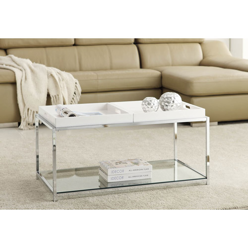 convenience concepts palm beach coffee table with trays, multiple