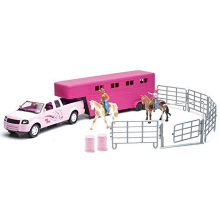 Valley Ranch Pink Pick Up Truck and Horse Trailer