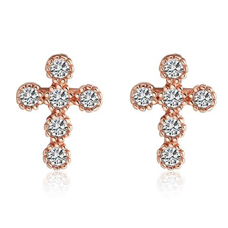 Ginger Lyne Collection Cross CZ Rose or White Gold over Sterling Silver Stud Earrings