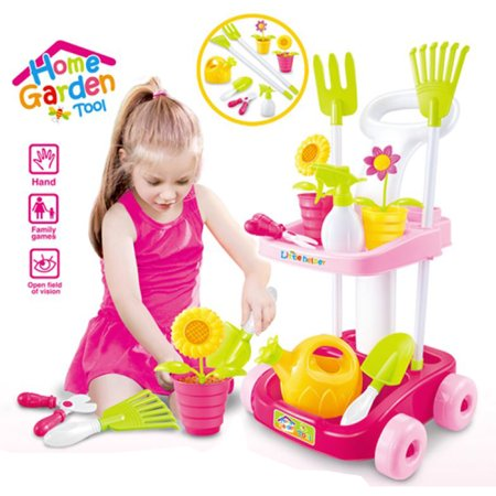 PNE Toys - Home Garden Tool - Double Decker Garden Cart And Tools Toy for Kids with 5 Different Gardening Tools, 2 Pots with Flowers, Water Pail and Spray (Pink) for KIDS 3 and Up!
