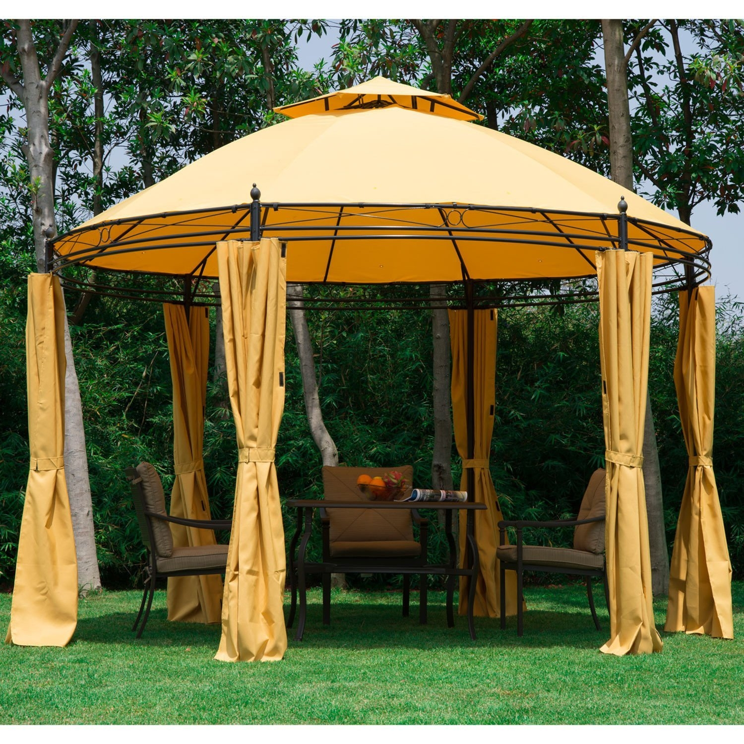 Click here to buy New MTN-G 11.5FT Round Outdoor Patio Canopy Gazebo 2-Tier Roof Tent Shelter w  Curtains by MTN Gearsmith.