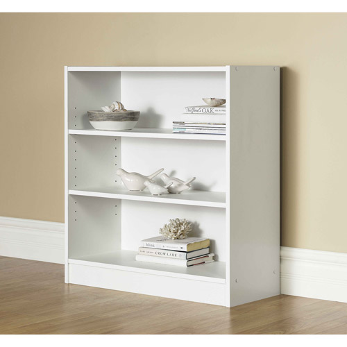 "Mainstays 32"" 3-Shelf Wide Bookcase, White"