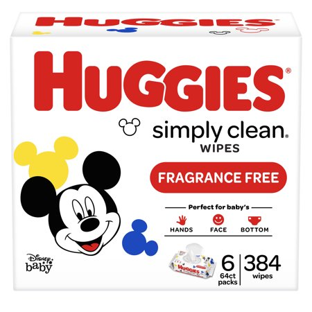 HUGGIES Simply Clean Baby Wipes, Unscented, 6 packs of 64, 384 Ct