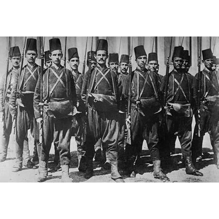 Turkish Guard with Rifles & Wearing Fezs are in Platoon Formation in the  Ottoman Empire Poster Print by unknown