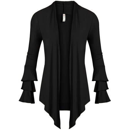 - Simlu Womens Open Front Cardigan Sweater Ruffle Long Sleeve Cardigan Reg and Plus Size - Made in USA