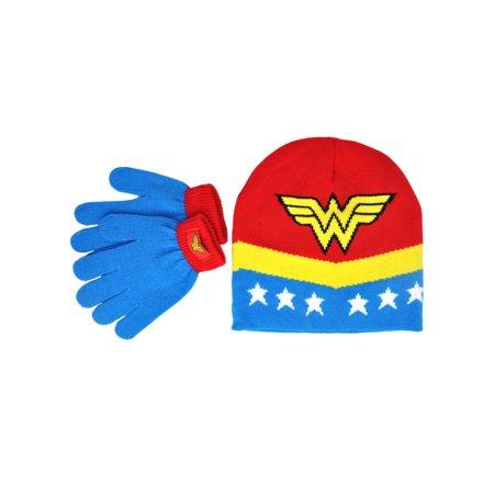 DC Comics Wonder Woman Knit Beanie Gloves 2-Piece Set Hat (Big Girls) (Beanie Hat Dc)