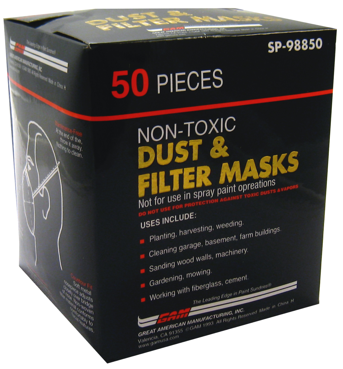 Gam SP98850 50-Count Dust and Filter Masks