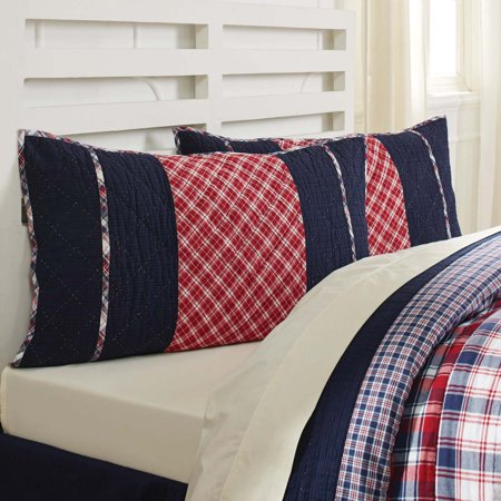 Navy Blue Farmhouse Bedding Carter Cotton Hand Quilted